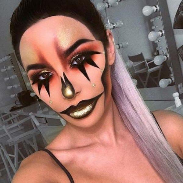 Glam Gold Clown Makeup