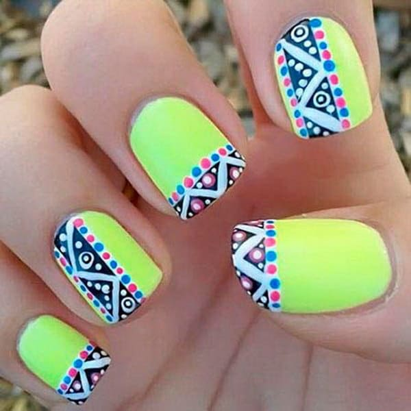 Neon Tribal Ink Nail Art