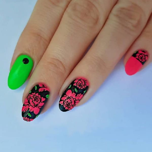 Rosey Pink with Neon Green
