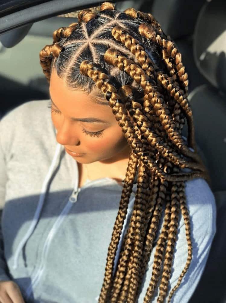 African Golden blonde box braids