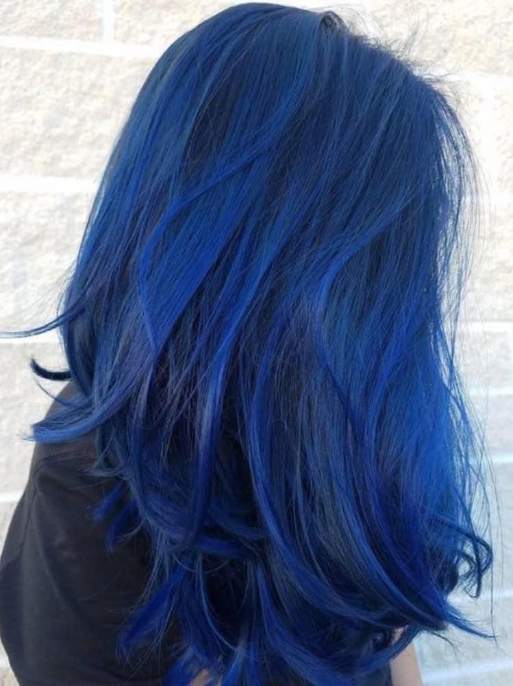 Black and Cobalt Blue Balayage