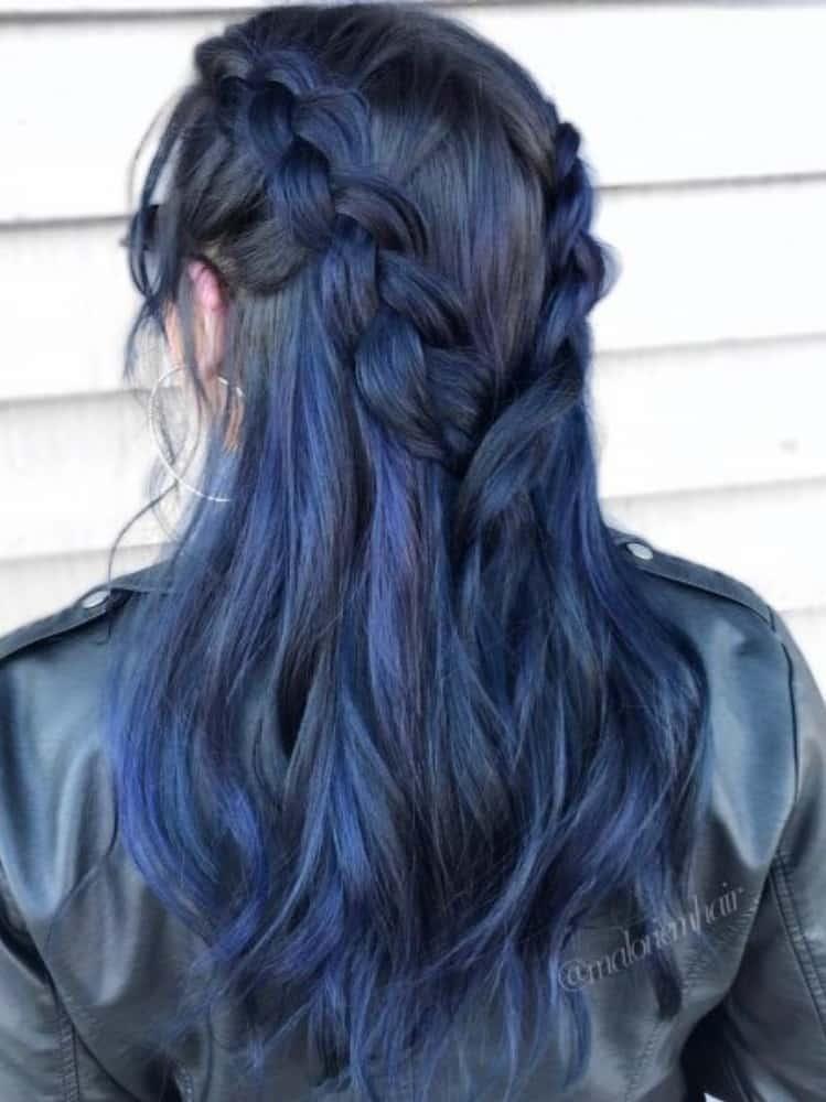 Braided Blue Black hair