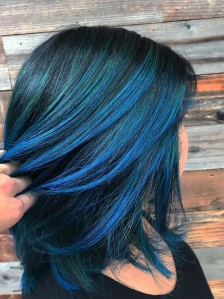 Bright Blue Highlights on Black Hair