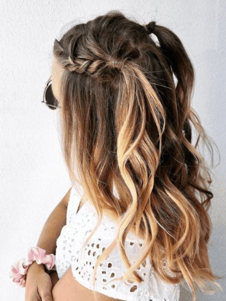 Chunky Braids in Half-Up Pigtails