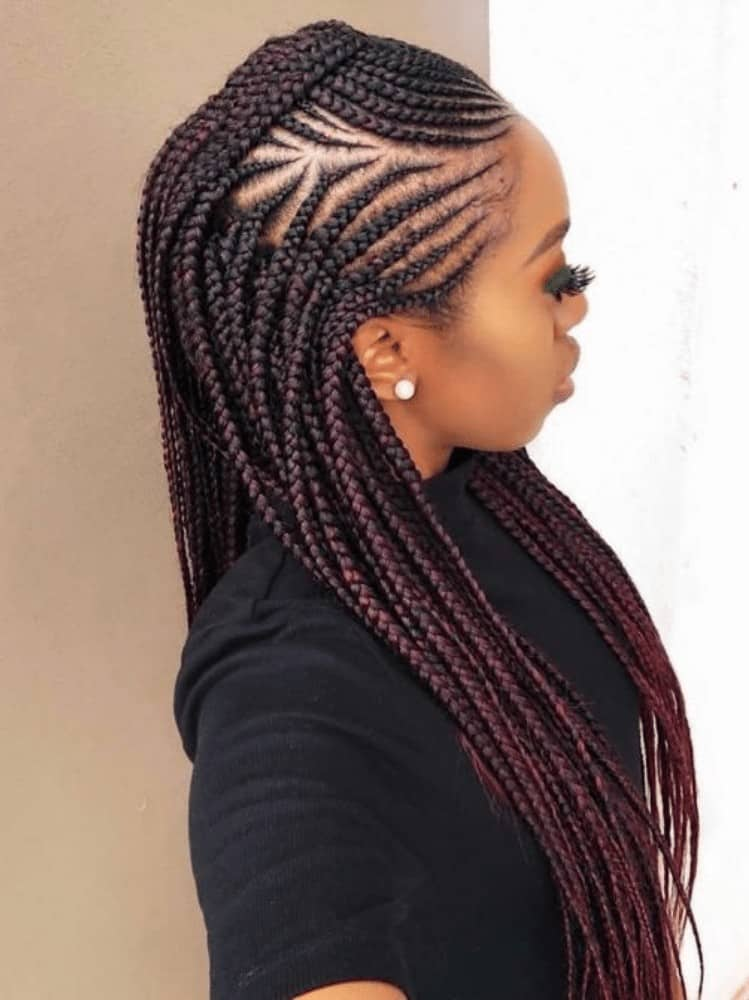 Copper Mohawk with Long African Braids