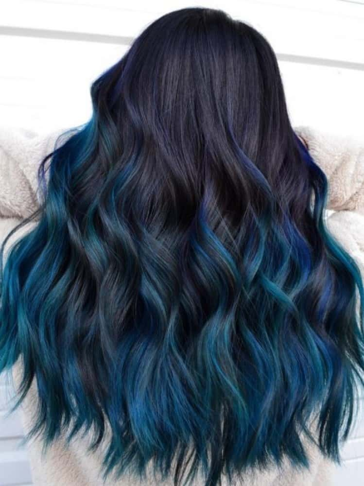 Dark Hair Subtle Blue Streaks