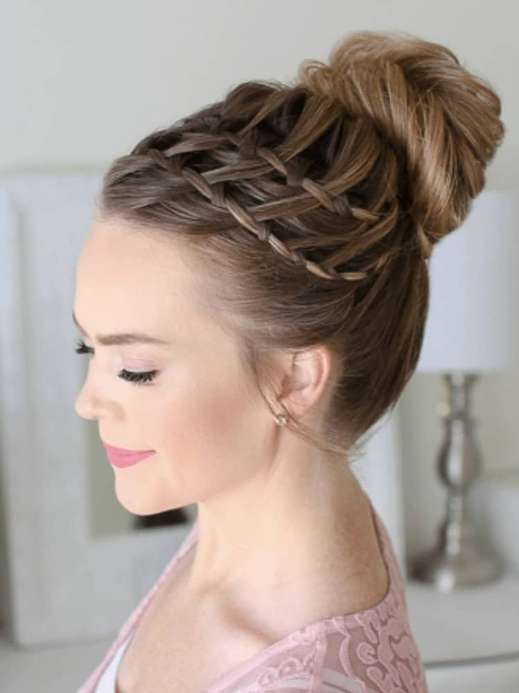 Double waterfall braid high bun