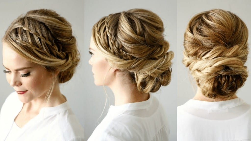 Double waterfall hair updo