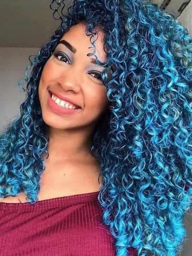 Light Blue Dark Roots Curly Hair