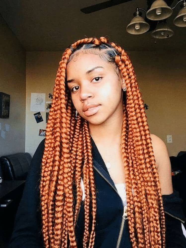 Long Box Braids with Copper Streaks
