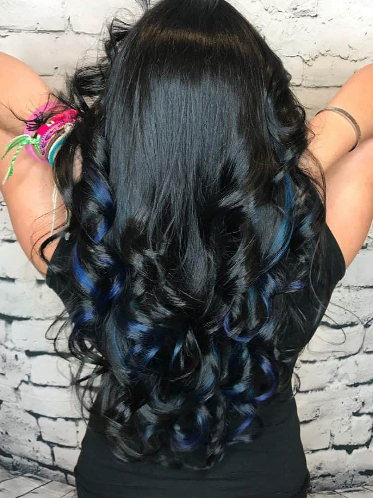 Long Jet Black Hair with Strips of Blue