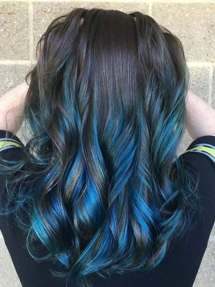 Long, Thick Black Hair with Blue Highlights