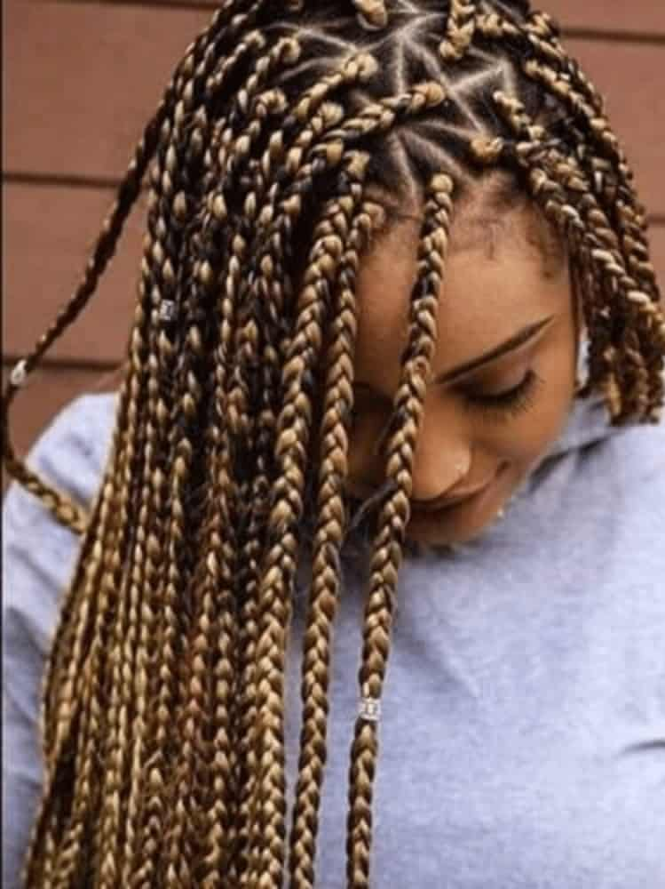 Long Twist Braids Blonde Streaks