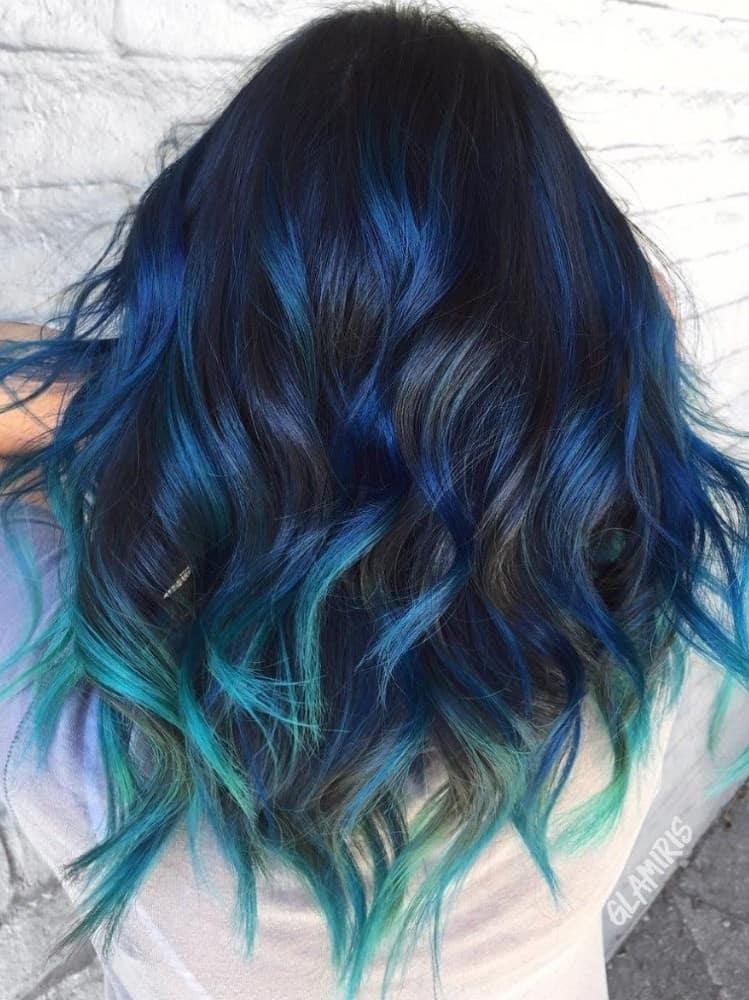 Pastel Blue Highlights on Black Hair