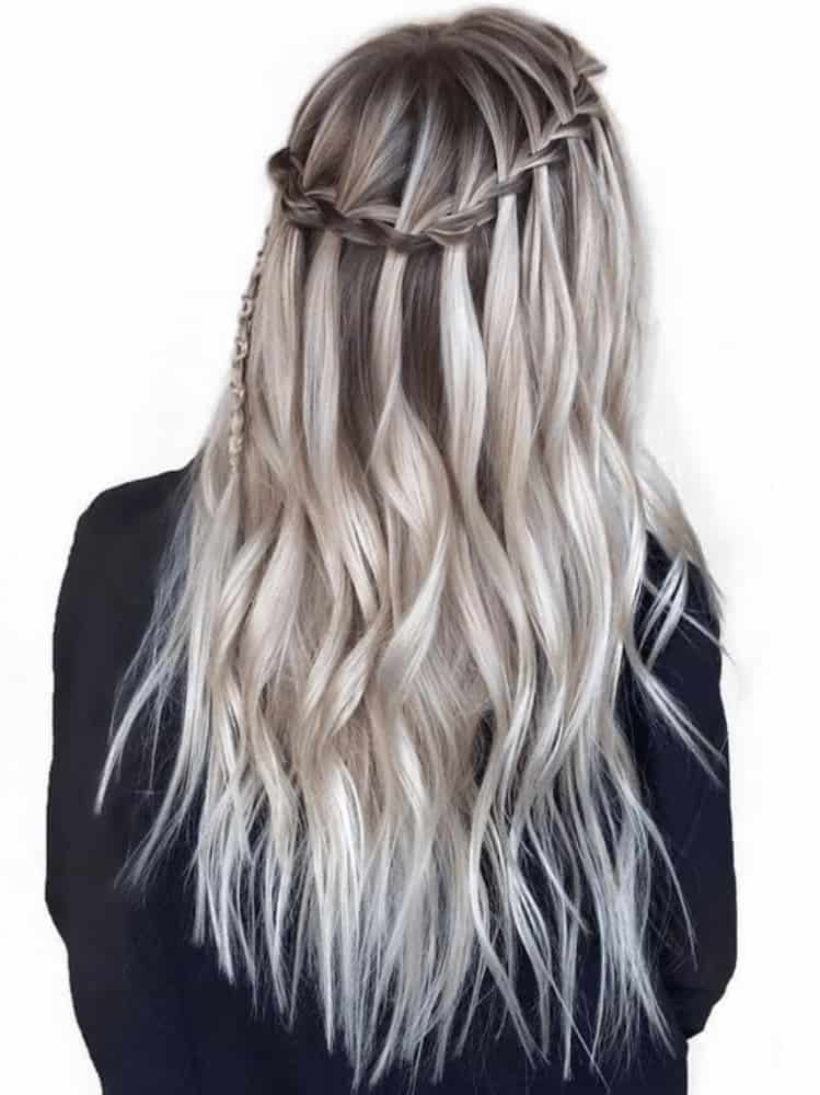Silver waterfall braid hair