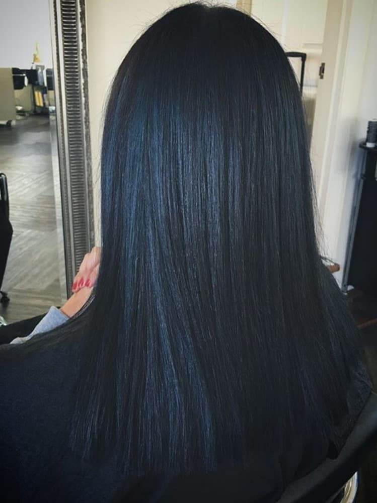 Straight Black Hair with Subtle Blue Highlights