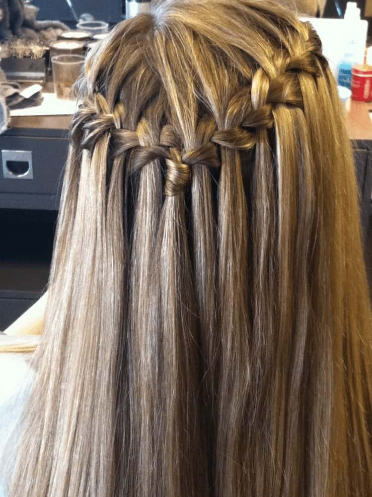 Straight waterfall braid hairdo