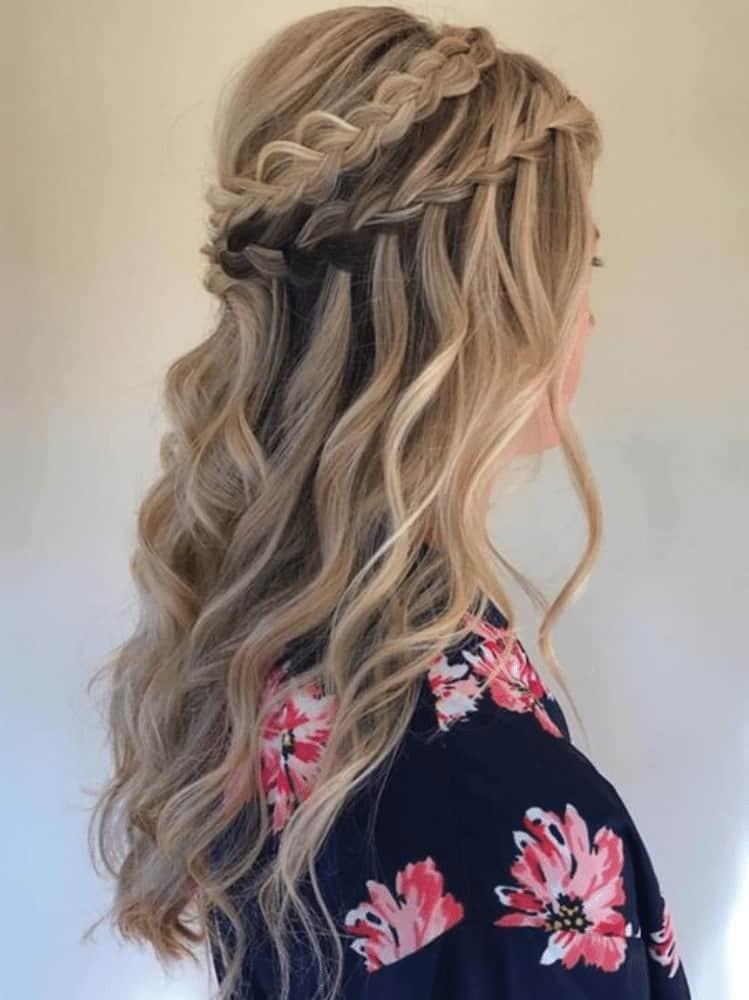 Two row waterfall braided crown