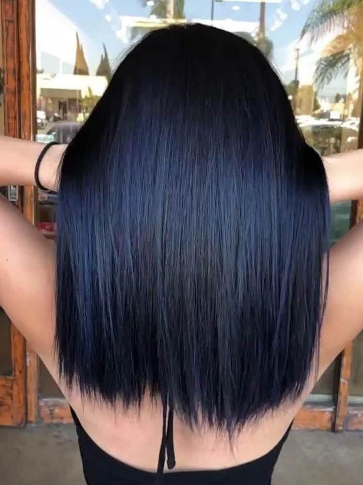 hair with a blue tint