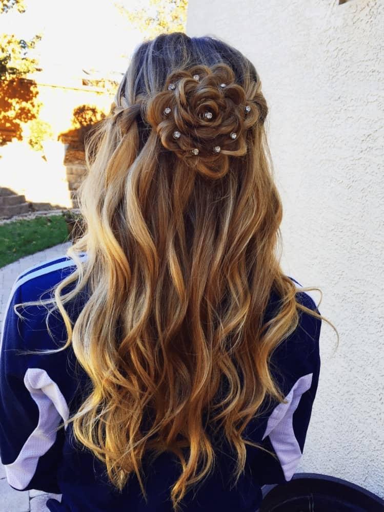 waterfall Braid with flower bun