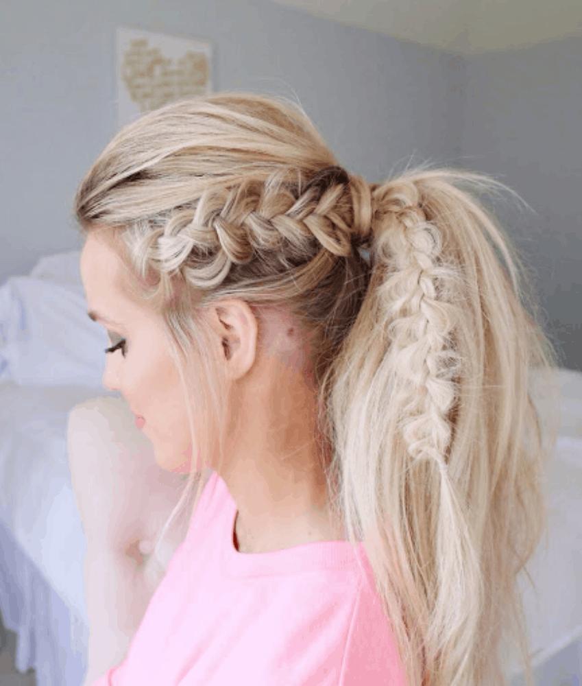 Dutch braid into ponytail
