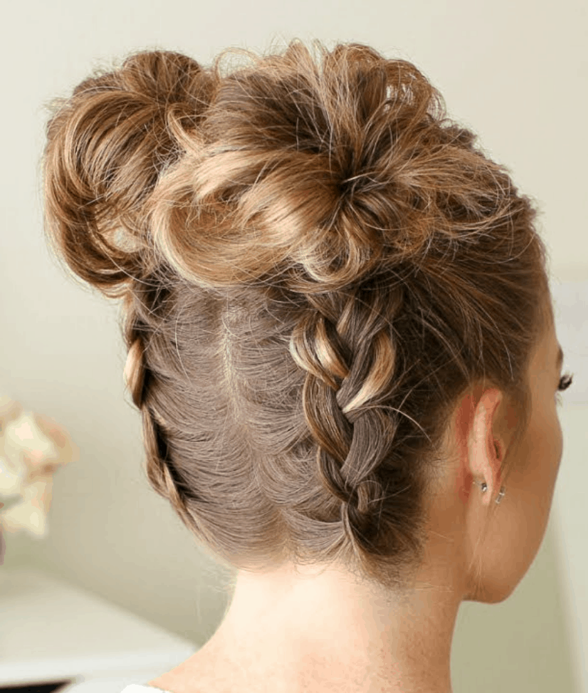 Two dutch braids with buns