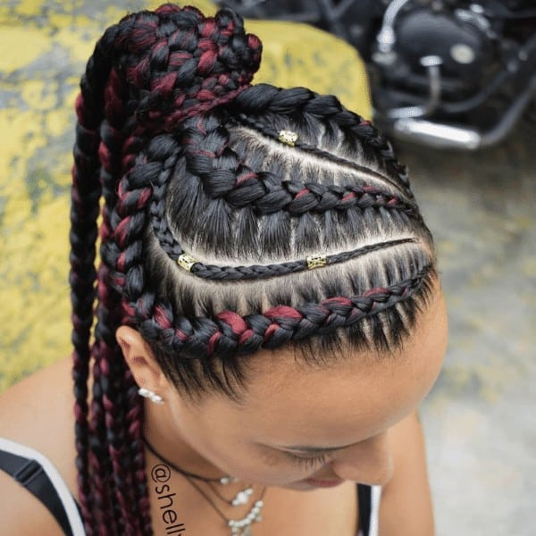Black and Wine Goddess Braids in a Ponytail