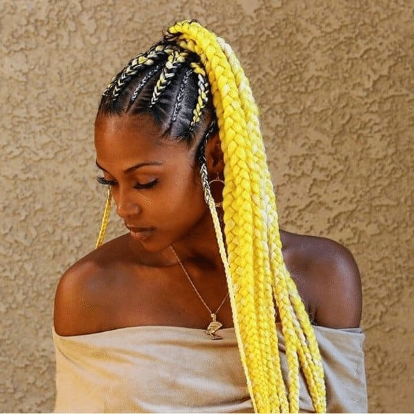 Black and yellow Ombre braids