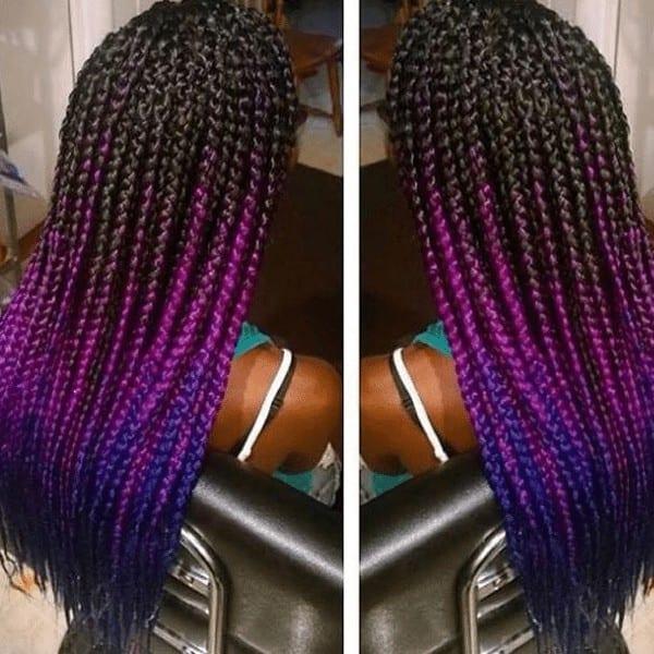 Black to purple Ombre braids