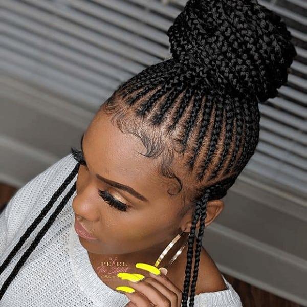 Braided bun with loose side braids