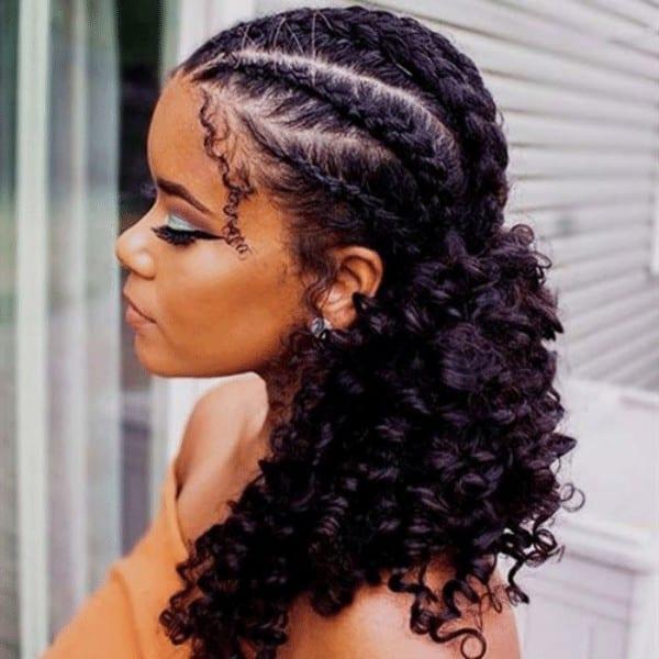 Cornrow braids with weaves