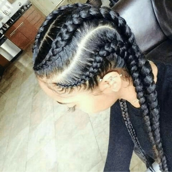 Curved Feed-In Goddess Braids