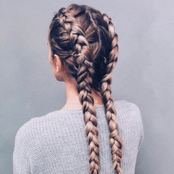 Double braided hairstyle
