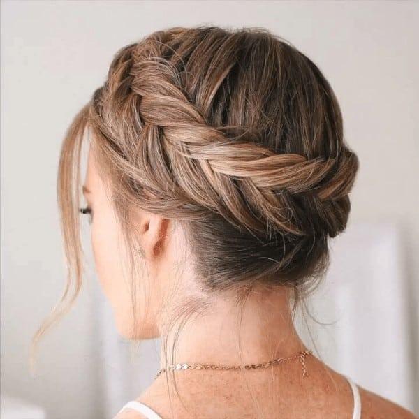 Dutch type fishtail crown braid