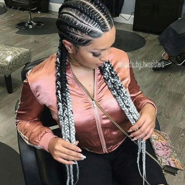 Feed-In Goddess Braids with Color