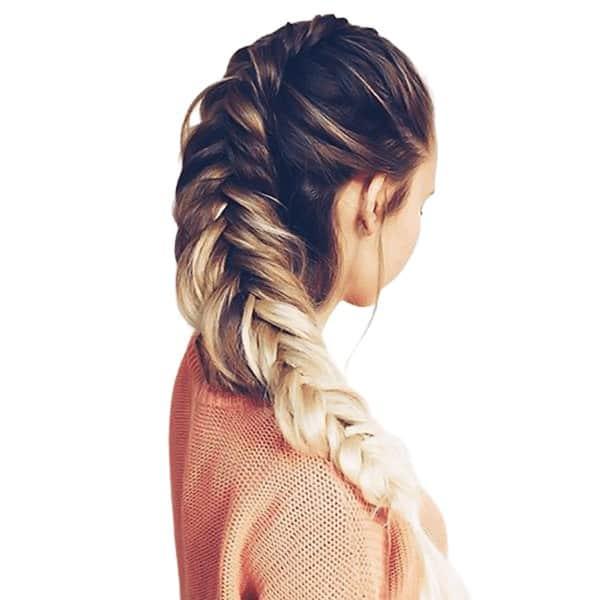 Fishtail type halo braids
