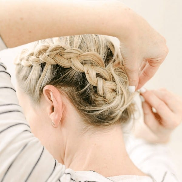Halo braids with a messy look