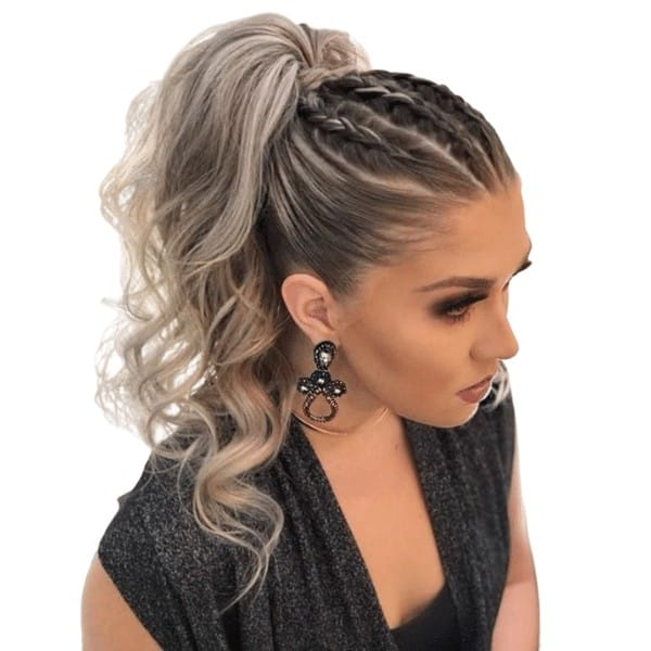 Halo braids with a voluminous ponytail