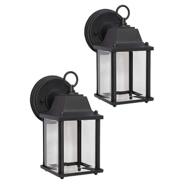 Hampton Bay 2-Light Black Solar LED Outdoor Wall Lantern