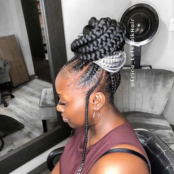 High braided bun with grey braids