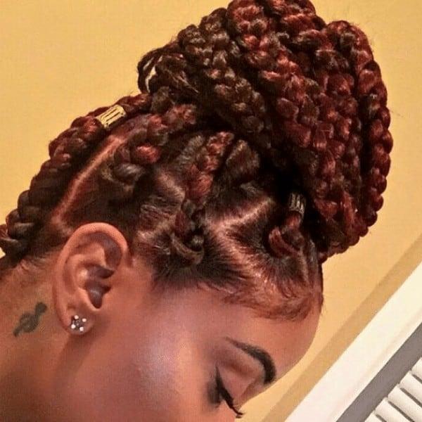 High bun Jumbo box braids Updo