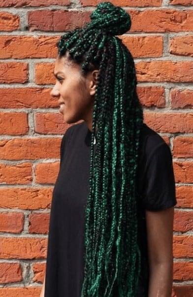 Long Dark Green Braids In A Bun Yarn Braids