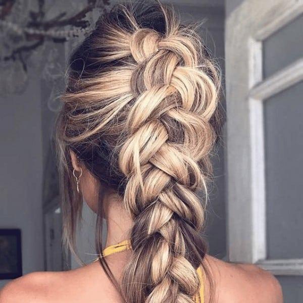 Loose dutch braid hairstyle