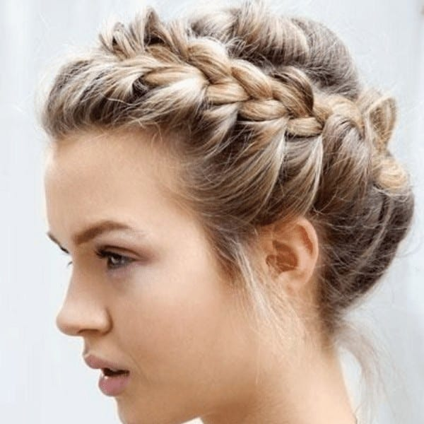 Maiden Updo with a Delicate Headband Braid