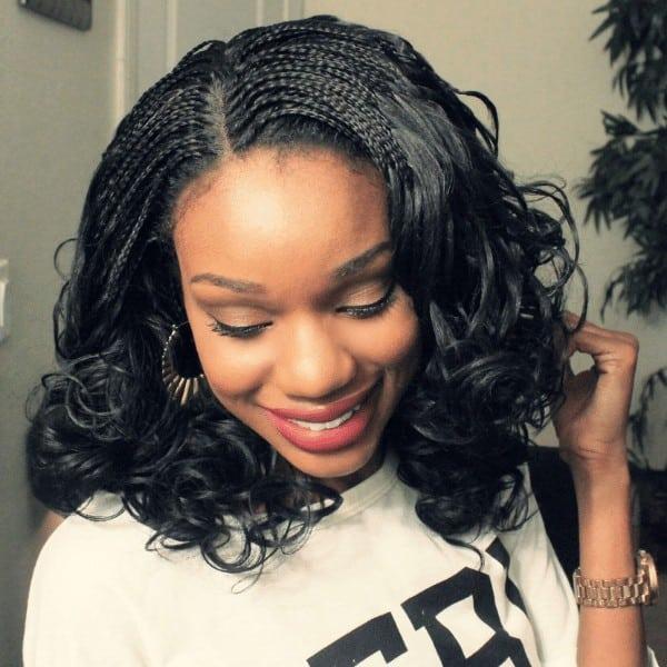 Micro braids on curly hair