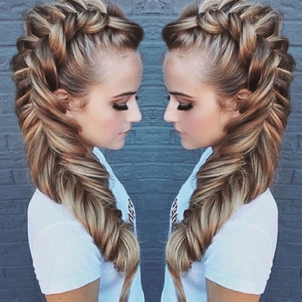 Mohawk braid along with fishtail