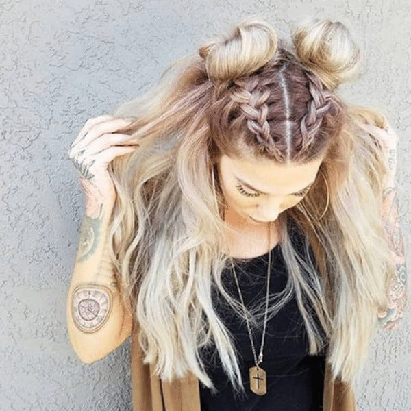 Mohawk with double braids