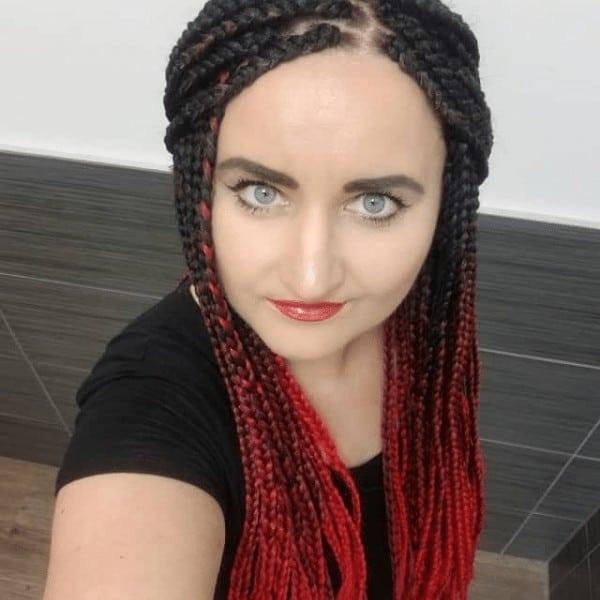Ombre burgundy braids