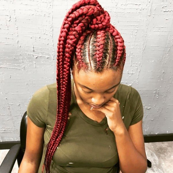 Pink Red Feed-In Goddess Braids