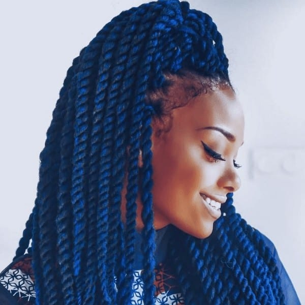 Pop of blue hairstyle